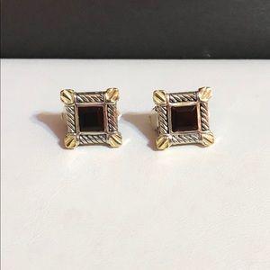 Jewelry - Vintage square 18k YG & 925 Garnet Earrings